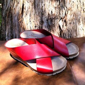 Yokono Red Leather Candela Wedges Size 6.5